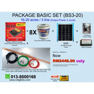 BS3-20 Package Basic Set (16-20 acres/ 3 line) Energizer Power Output 3.0Joule